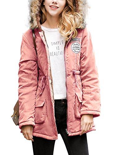 Manteau Manteaux Chaud Fonc Femme Parkas En Outwear Coton Gabardine paise Coupe Coat YOSICIL Hiver Rose Causal Cintre Capuche long Longues Veste Lache Trench Automne Mi Manches Coat qwIwR1