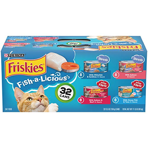 Purina Friskies Wet Cat Food Variety Pack, Fish-A-Licious Shreds, Prime Filets & Tasty Treasures – (32) 5.5 oz. Cans