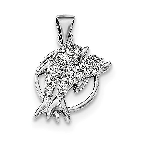 Jewelry Pendants & Charms Themed Charms Sterling Silver Rhodium-plated Polished CZ Double Dolphin Pendant ()