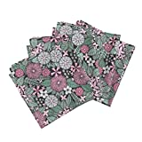 Flower Floral Nature Pretty Girl Garden Pink Organic Sateen Dinner Napkins Wild Wallflowers (Pink and by Robyriker Set of 4 Dinner Napkins