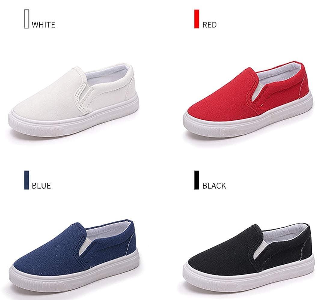 WUIWUIYU Kids Boys Girls Casual Sports Athletic Breathable Slip-on Flat Canvas Shoes K340127