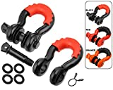 motormic D Ring Shackles 2pc - 3/4' Clevis Shackle with 7/8' Pin - Max 57,000 lbs Break Point - 2 Red Isolators and 8 Black Washers - Heavy Duty DRing for Tow Strap, Winch, Off Road, Jeep Towing