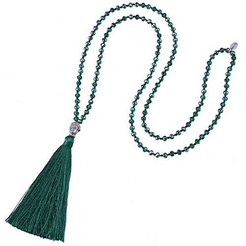 (KELITCH Fashion Crystal Strand Necklace Long Chain with Buddha Head Tassel Pendant - Deep Green)