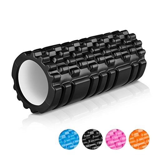 "ENKEEO Foam Roller 13"" X 6"" EVA with Grid Design Muscle Rollers for Deep Tissue Myofascial Release, Sports Massage and Recovery, Trigger Point Therapy, Pilates & Yoga (Black/Blue/Orange/Pink)"
