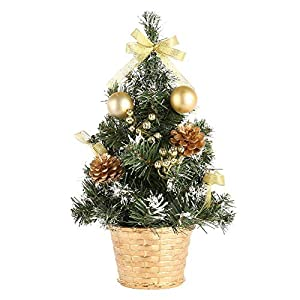 Leezo Mini Artificial Christmas Pine Tree Xmas Tabletop Decoration Party Festival Gift with Berries Baubles Ornament 47