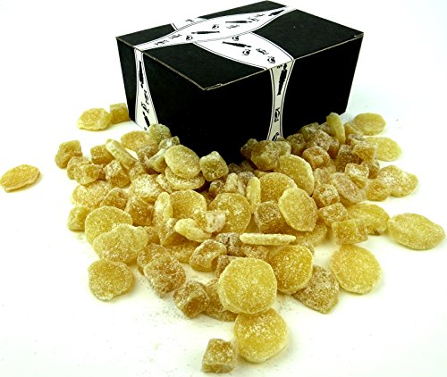 The Ginger People All Natural Crystallized Ginger Select Variety: One 8 oz Bag Each of Dice and Slices in a Gift Box by Black Tie Mercantile
