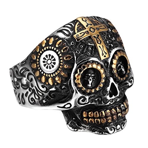 INRENG Stainless Steel Gothic Cross Sugar Skull Rings for Men Vintage Biker Band Flower Carved Halloween Jewelry Silver Gold Size (Carved Band)