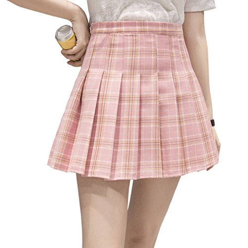 Hoerev Women Girls Short High Waist Pleated Skater Tennis School Skirt -