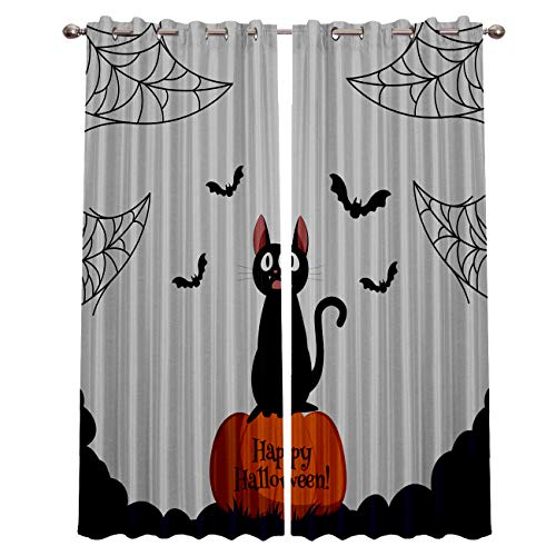 Rocking Giraffe Blackout Grommet Curtains for Living Room Halloween Cat and Pumpkin Home Decor Treatment Thermal Darkening Drapes Window Curtains for Bedroom (2 Panels, 52 x 72 Inch Each Panel)