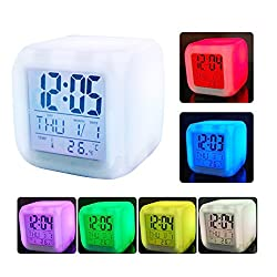 Zinnor Digital Alarm Thermometer Night Glowing Cube 7 Colors Clock LED Change LCD LED Changing Digital Alarm Clock with Snooze,Music and Large Display-White