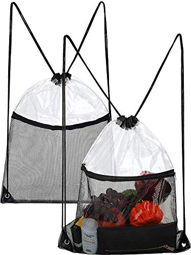 2 Pieces Clear Drawstring Bag Transparent Drawstring Backpack with Zipper Mesh Pocket (Color 1) ()
