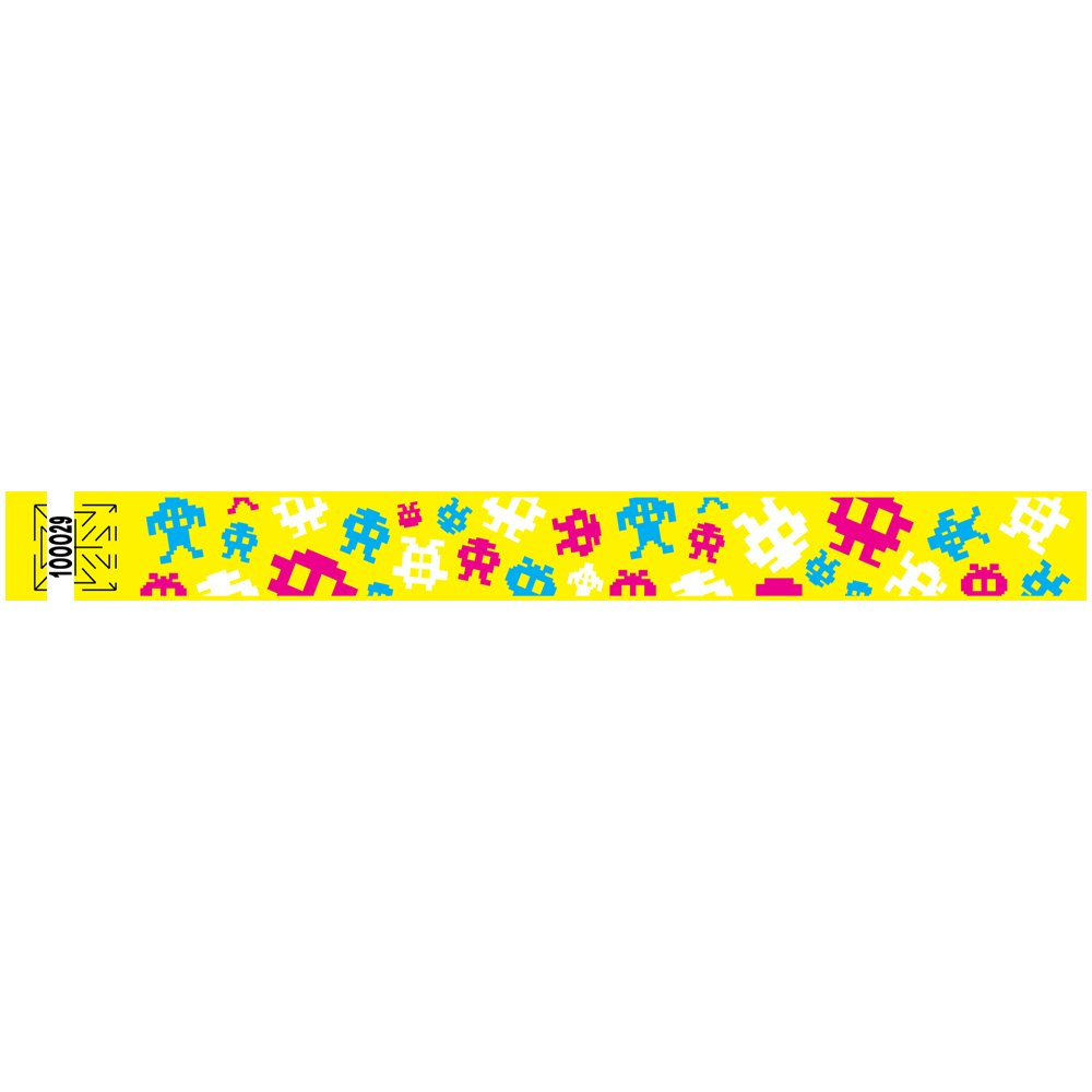 1 Inch Tyvek Wristbands - Video Game - Great for Souvenir - Fun for Teens - Colorful Design - Yellow - 500 Units Per Pack