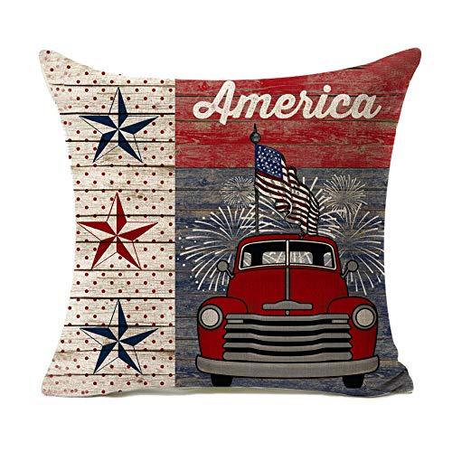 Kithomer Rustic American Patriotic Pillow Case Farmhouse Decorative Independence Day Cushion Cover 18 x 18 Inches Truck with American Flag