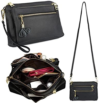 YALUXE Women's Large Capacity Leather Wristlet Smartphone Clutch Small Crossbody Shoulder Bag
