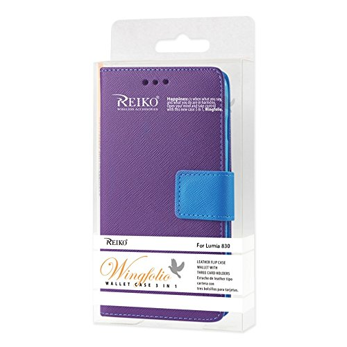 Reiko 3 in 1 Wallet Case with Gray Interior Leather-Like Material and Polymer Cover for Nokia Lumia 830 - Retail Packaging - Purple