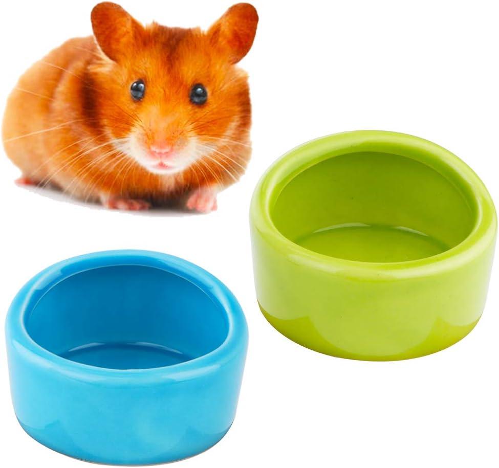 2 Pcs Ceramic Hamster Bowl, Small Animal Food Bowl and Water Dish Feeder for Hedgehog Hamster Guinea Pig Sugar Glider Rat Gerbil Mice Chinchilla ( Blue and Green )