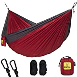 Wise Owl Outfitters Hammock for Camping Single & Double Hammocks Gear For The Outdoors Backpacking Survival or Travel - Portable Lightweight Parachute Nylon SO Charcoal & Red
