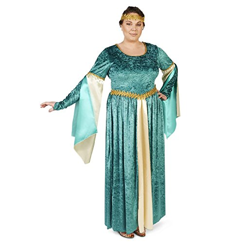 [Renaissance Teal Velvet Dress Adult Plus Costume 1X] (Medieval Shirt Adult Costumes)