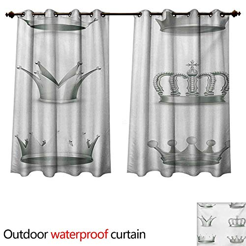 WilliamsDecor Grey Outdoor Curtain for Patio Different Kinds of Antique Crowns Queen King Imperial Theme Vintage Symbol W63 x L72(160cm x 183cm)