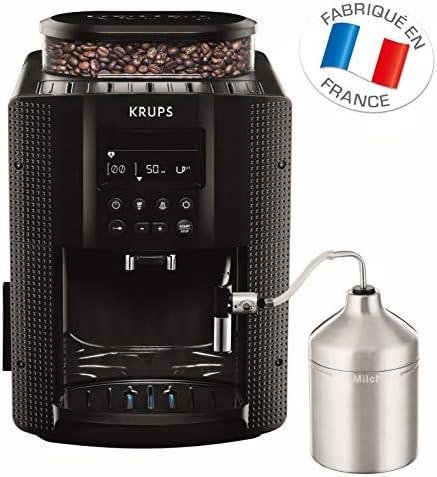KRUPS ESSENTIAL NOIRE Machine à café à grain Machine à café broyeur grain Cafetière expresso Ecran LCD Nettoyage automatique Buse vapeur Pot à lait inox CappuccinoEA816031