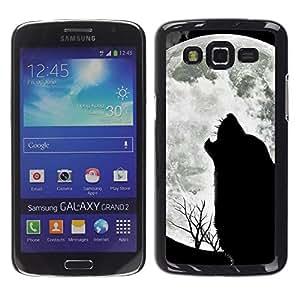 Caucho caso de Shell duro de la cubierta de accesorios de protección BY RAYDREAMMM - Samsung Galaxy Grand 2 SM-G7102 SM-G7105 - Wolf Hauling Moon Wild Trees Nature Animal