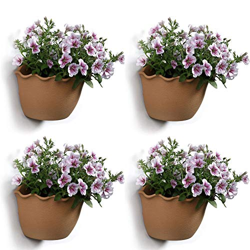 (T4U Resin Wall Hanging Planter Apricot Small Set of 4, Wave Edge Pottery Style Plastic Flowers Pot for Home Office Garden Porch Wall Decoration Indoor Outdoor Best Gift)