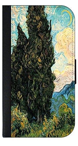 Artist Vincent Van Gogh's Cypresses - Wallet Style Phone Case Compatible with the Samsung Galaxy s3/s4/s5/s6/s6edge/s7/s7edge/s8/s8Plus - Choose Your Compatible Phone - Cypress Outlets