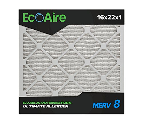 Eco-Aire 16 x 22 x 1 Premium MERV 8 Pleated Air Conditioner Filter, 6 Pack