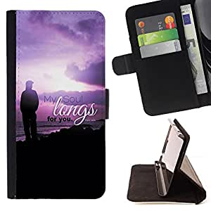 BullDog Case - FOR/Samsung Galaxy S3 III I9300 / - / MY SOUL LONGS FOR YOU - PSALM 43:6 /- Monedero de cuero de la PU Llevar cubierta de la caja con el ID Credit Card Slots Flip funda de cuer