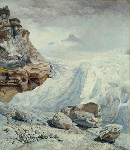 Tainted Quality Polyster Canvas ,the Reproductions Art Decorative Prints On Canvas Of Oil Painting 'John Bretts - Glacier Of Rosenlaui,1856', 30x35 Inch / 76x88 Cm Is Subdue For Nursery Gallery Art And Home Decoration And Gifts