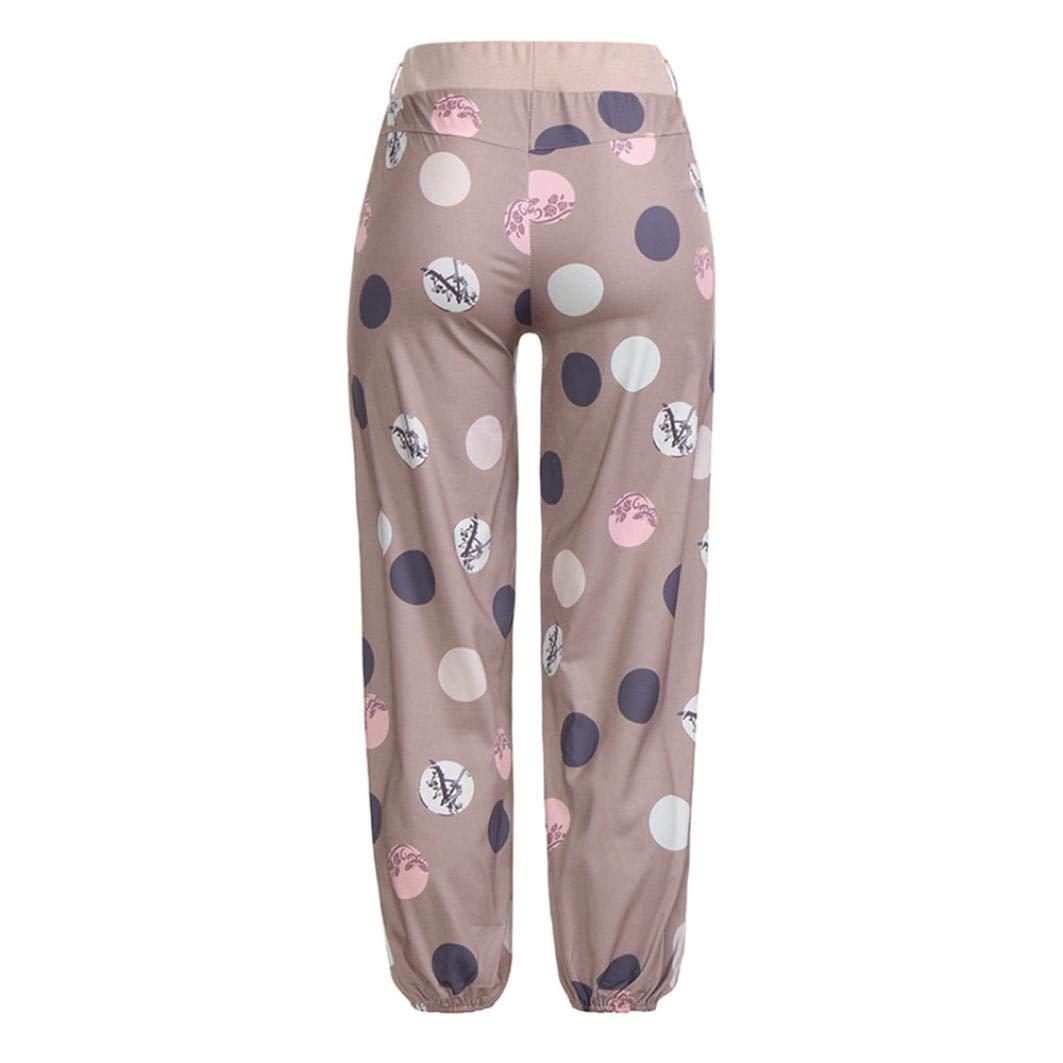 Jinjin Womens Print Pocket Elastic Band Trousers Long Baggy Pants
