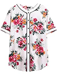 Men's Casual Cotton Floral Print Hip Hop Button Down Baseball Jersey Active Shirts