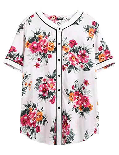 COOFANDY Men's Casual Cotton Fashion Floral Print Short Sleeve Button Down Shirts, Pattern-1, ()