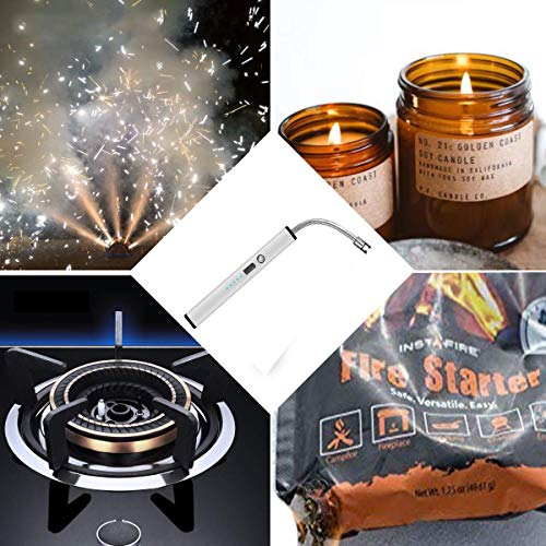 Lighters, Upgraded Candle Lighter USB Electric Plasma Lighters Long Rechargeable Flexible Flamless Windproof for Candles, Camping, Stove, Fireworks, Charcoal Grill, BBQ,etc (Gray)