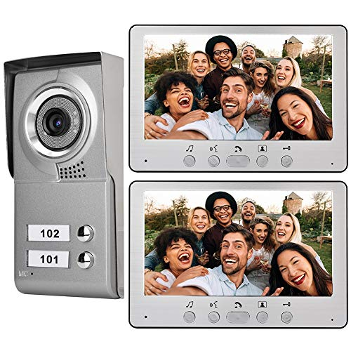 (Intercom Doorbell, Wired Video Door Phone Audio Visual Entry Intercom System Wall-Mounted 7inch Apartment 2 Units for Villa House Office(Silver))