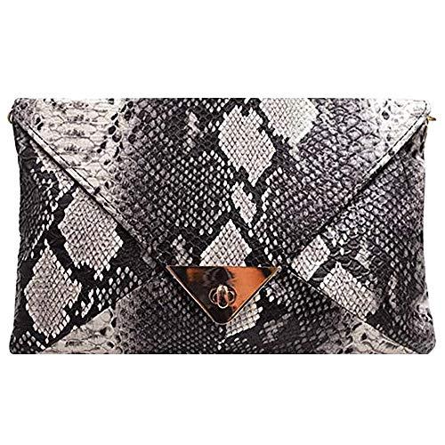 CLARA Women Fashion Snakeskin Clutch Handbag Envelope Bag Chain Shoulder Bag Evening Party Bag