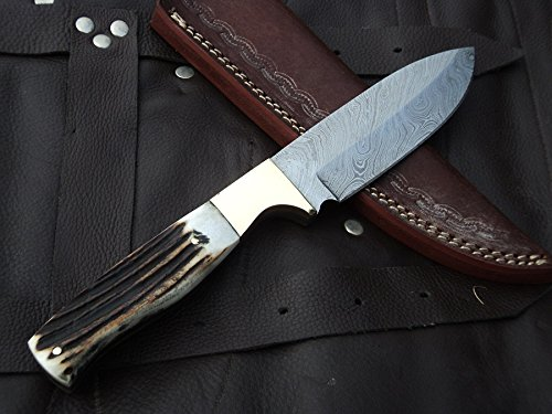 DKC-724 STAG PRINCE Damascus Stag Horn Bowie Hunting Handmade Knife Fixed Blade 10 oz 9.5 Long 4.5 Blade
