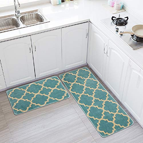 HEBE Kitchen Rug Sets 2 Pieces Non Skid Machine Washable Kitchen Rugs and Mats Set Moroccan Trellis Kitchen Rug Runner Set Indoor Outdoor Entry Rug Floor Carpet(18