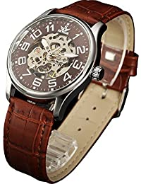 Mens Skeleton Transparent Mechanical Watch Brown Leather...