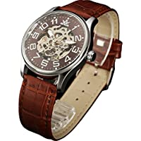 Sewor Mens Skeleton Transparent Mechanical Watch Brown Leather Skeleton Movement (Brown)