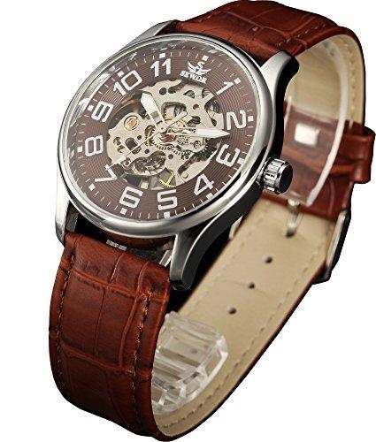 Sewor Mens Skeleton Transparent Mechanical Watch Brown Leather Skeleton Movement - Movement Skeleton