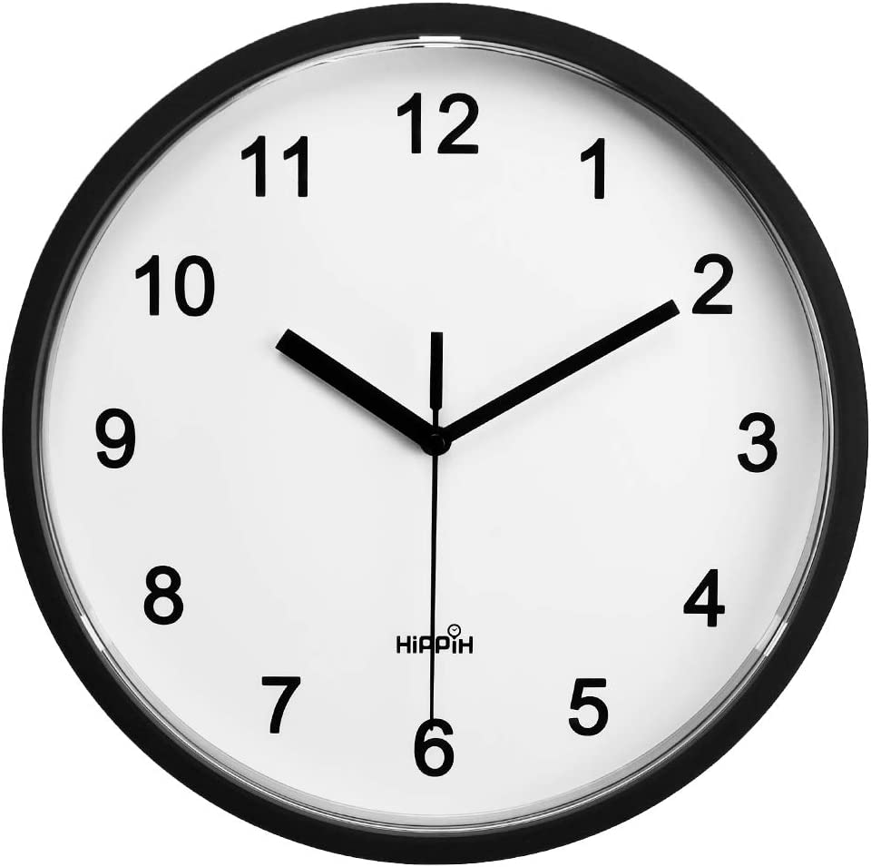 Battery Powered Quiet Sweep Clock for Home HIPPIH 10 Inch Silent Wall Clock Office School Black Frame Non Ticking Decorative Clocks