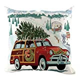 Merry Christmas Decor Retro Red Truck with Trees Farmhouse Decoration Gift Linen Home Throw Pillow Case Cushion Cover for Sofa Couch
