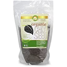 New Organic Chia Seeds (16oz) Raw Black Chia Seeds For Amino Acids - Omega 3, 6, 9 & Dietary Fiber - 1 Pound Bag - USDA Organic, Gluten Free, Vegan, & Kosher Chia
