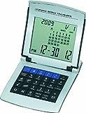 ADESSO(アデッソ) デジタル表示 ワールドタイムトラベルクロック ワールドトラベラー電卓付き シルバー 8150