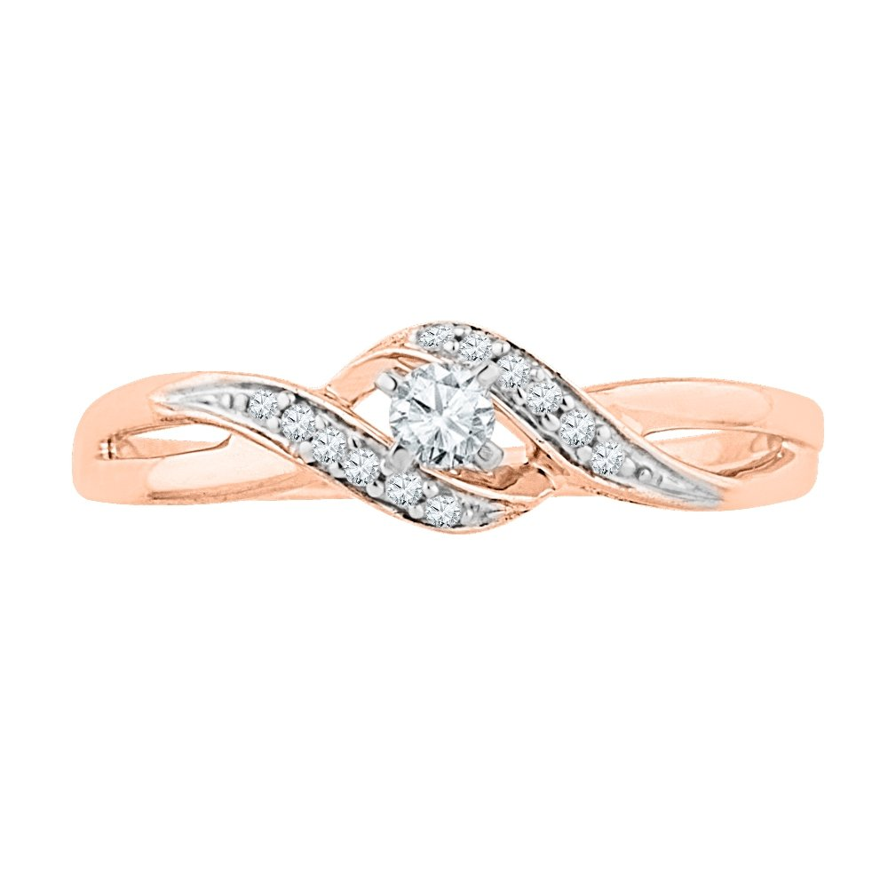 10 KT Pink Gold Round Diamond Fashion Ring (0.12 Cttw)
