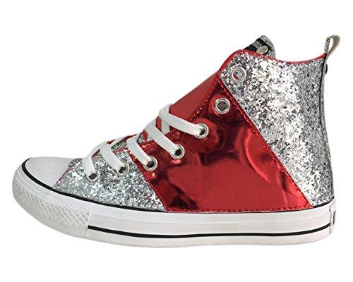 Tessuto Lamina E Edition Rossa Stripe Argento Converse Star Di Con All Applicazione Glitter wxFqBf