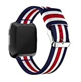 Oucan Fitbit Versa Band, Fine Woven Nylon Adjustable Replacement Band Sport Strap for Fitbit Versa Fitness Wristband, Wrist Length 5.31''-8.07''