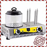 Commercial Kitchen Equipment PROFESSIONAL European-Style Hot Dog Steamer Cooker Hotdog Machine and 4 Bun Roller Warmer