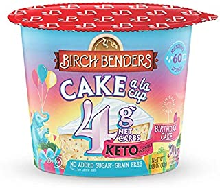 product image for Birthday Cake Cups by Birch Benders, Gluten-Free, Keto friendly, only 4 Net Carbs, Just Add Water, Single Serve Cups, 1.48 oz, Pack of 8